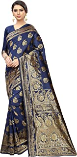 Bridal Blue Banarsi Print Saree Indian/Pakistani Traditional Bollywood Ethnic Golden Border Sari with Unstitch Blouse