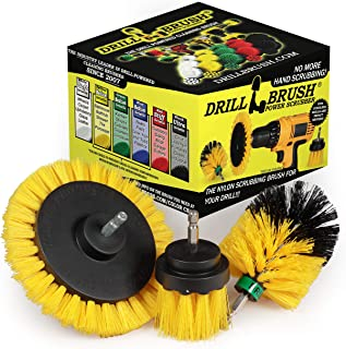 Drill Brush Power Scrubber by Useful Products – 3 Piece Yellow Bathroom Accessories Cleaning Set - Drill Brush Set for Cle...