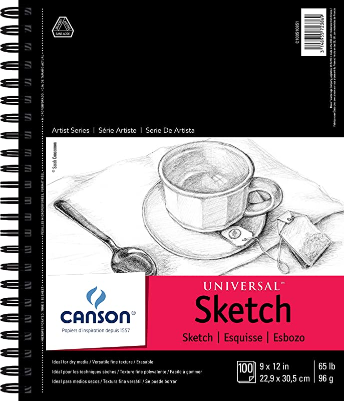 Canson Artist Series Universal Paper Sketch Pad For Pencil And Charcoal Micro Perforated Side Wire Bound 65 Pound 9 X 12 Inch 100 Sheets