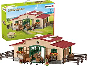 Schleich Farm World Stable with Horses and Accessories 48-piece Educational Playset for..