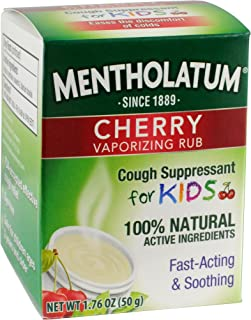 Mentholatum Cherry Vaporizing Rub for Kids, 1.76 oz. (50g) Jar - 100% Natural Active Ingredients for Fast-Acting Cough Relief Pack of 6