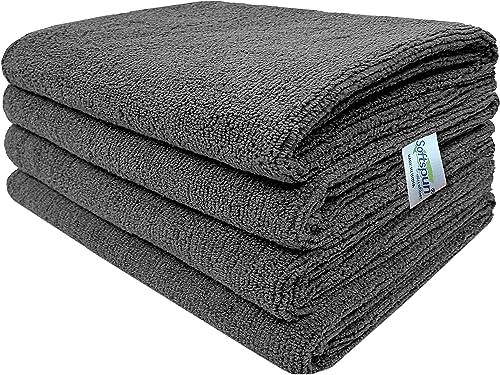SOFTSPUN Microfiber Cloth 40x60 Cms, 4 Piece Towel Set, 340 GSM (Grey) Multi-Purpose Super Soft Absorbent Cleaning To...