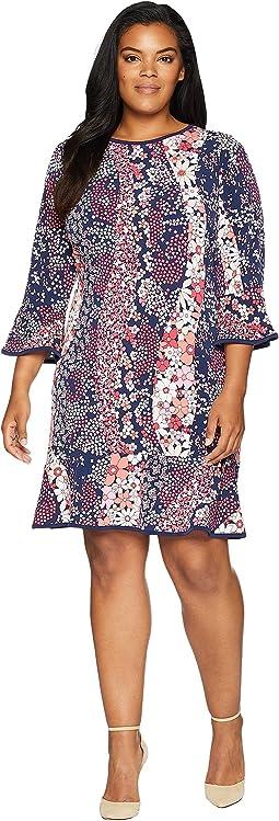 Plus Size Patchwork Flounce Dress