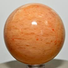 53mm Orange Yellow Jade Sphere Natural Sparkling Crystal Ball Polished Jadeite Mineral Stone - India + Plastic Stand