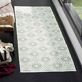 "Safavieh Montauk Collection MTK612G Handmade Cotton Runner, 2'3"" x 7' , Light Green / Ivory"