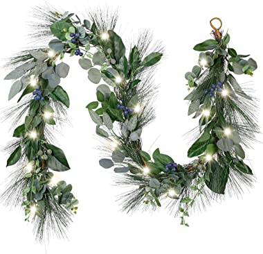 Valery Madelyn Pre-Lit 6 Feet Natural Fresh Spring Garland with Blueberries, Artificial Fruit Garland with Eucalyptus Leaves