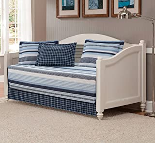 Mk Collection 5pc Daybed Set Stripes Plaid Navy Blue Light Blue White New