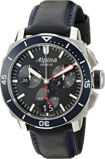 Alpina Men's AL-372LBN4V6 Seastrong Diver 300 Chronograph Big Date Analog Display Swiss Quartz Blue Watch