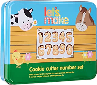 Let's Make Stainless Steel Numeral Cookie Cutter Set of 9 with Tin, Labelled