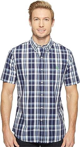 Striped, Plaid or Print Single Pocket Slim Fit Sport Shirt