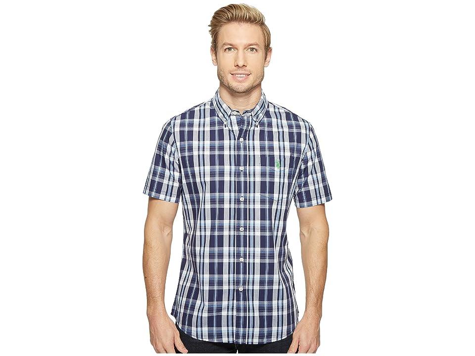 U.S. POLO ASSN. Striped, Plaid or Print Single Pocket Slim Fit Sport Shirt (Classic Navy) Men