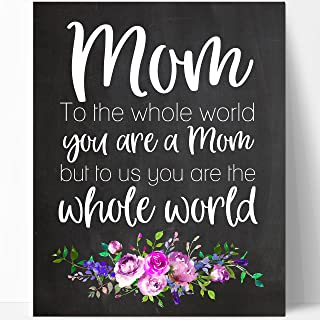 Mom Quote Chalkboard Wall Art Print (Mom Floral World)