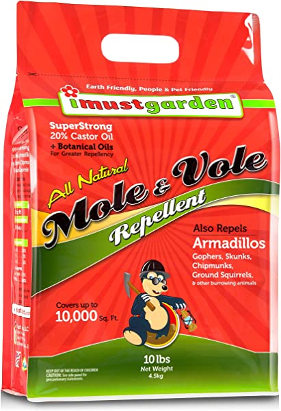 I Must Garden Mole Vole Repellent 10lb Granular Super Strong 20 Castor Oil All Natural Formula Effective Year Round Also Repels Armadillos Gophers And Skunks