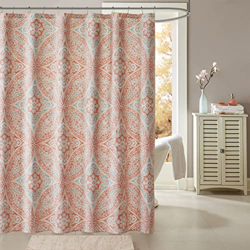 Madison Park Grace Printed Shower Curtain Coral 72x72