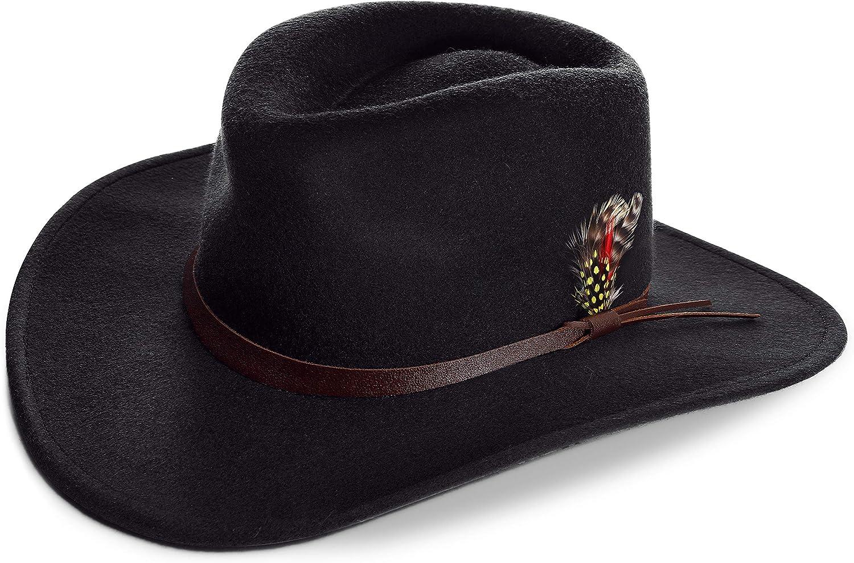 PORSYOND 100% Ranking TOP8 Wool Seasonal Wrap Introduction Outback Fedora Hat for Men P Wide Brim Cowboy