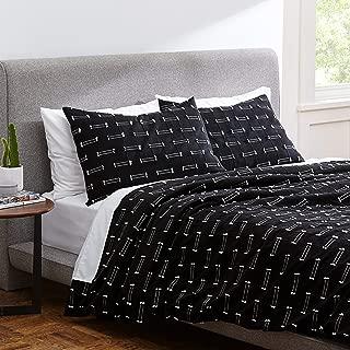 Rivet Global Textured 100% Cotton Duvet Cover Set, Full / Queen, Black