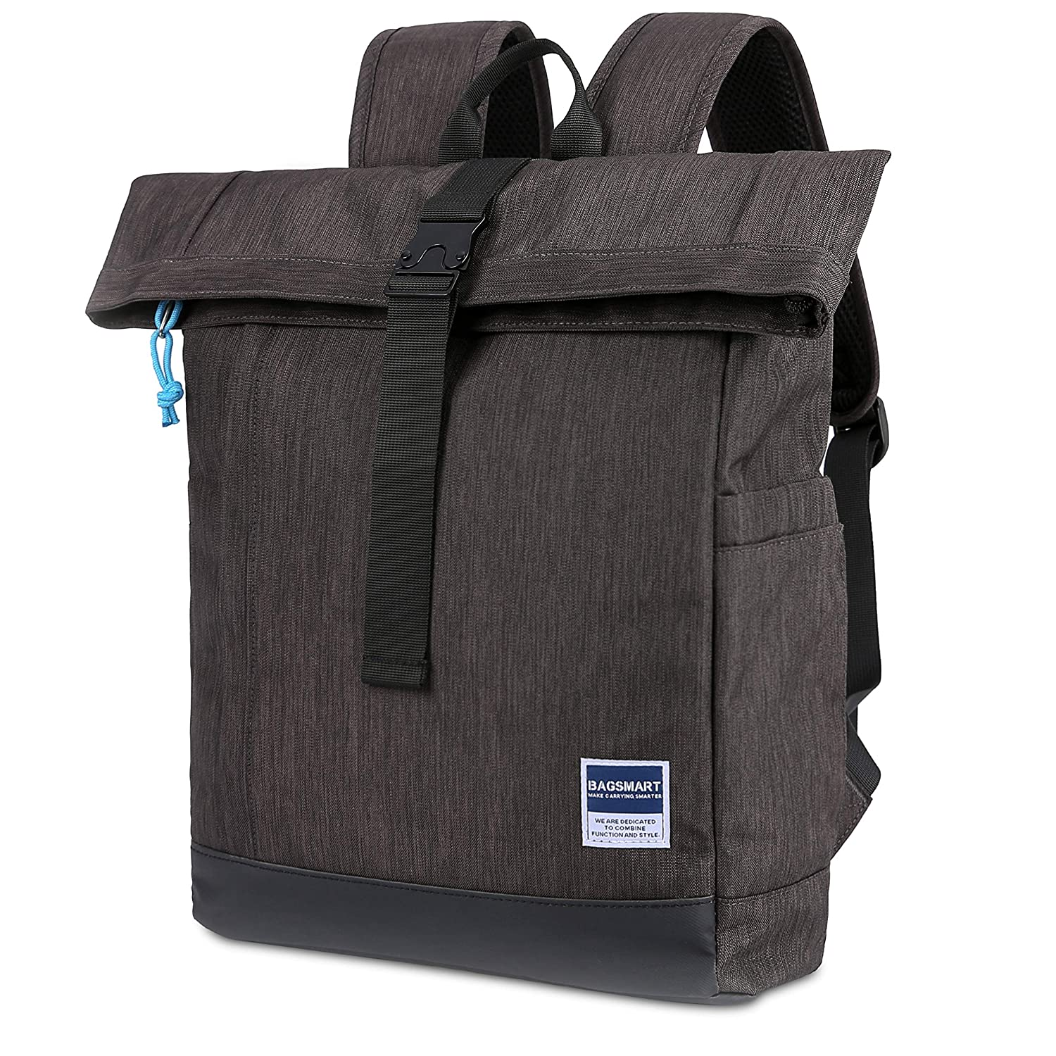 BAGSMART Laptop Backpack Roll-Top Backpack Daypack for School Work Travel Fit up to 15.6 Inch Laptop, 16L