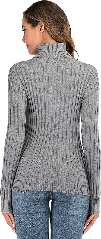 Enjoyoself Damen Gerippter Rollkragenpullover Feinstrick Elegant Langarm Strickpulli Stretch Warmer Winter Rolli Grau