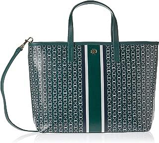 Tory Burch Gemini Link Stripe Ladies Medium Green Leather Tote Bag 43896318