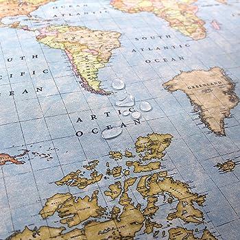 Odot Mantel Impermeable Antimanchas Tela de poliéster, decoración Resistente al Desgaste Lavable Apto, Distintos diseños y tamaños a Elegir, Mapa del Mundo Pintado (140 * 180cm,Rosa): Amazon.es: Hogar