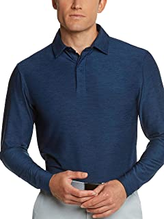 40c6c46df Men's Dry Fit Long Sleeve Polo Golf Shirt, Moisture Wicking and 4 Way  Stretch