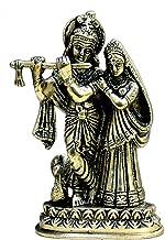 "StonKraft Ideal Gift - Brass Radha Kishan Krishna with Peacock Murti Idol Statue Sculpture (6"") …"