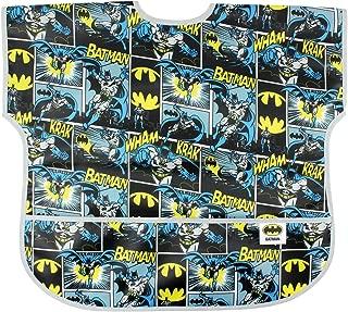 Bumkins DC Comics Batman Junior Bib / Short Sleeve Toddler Bib / Smock 1-3 Years, Waterproof, Washable, Stain and Odor Resistant – Comic
