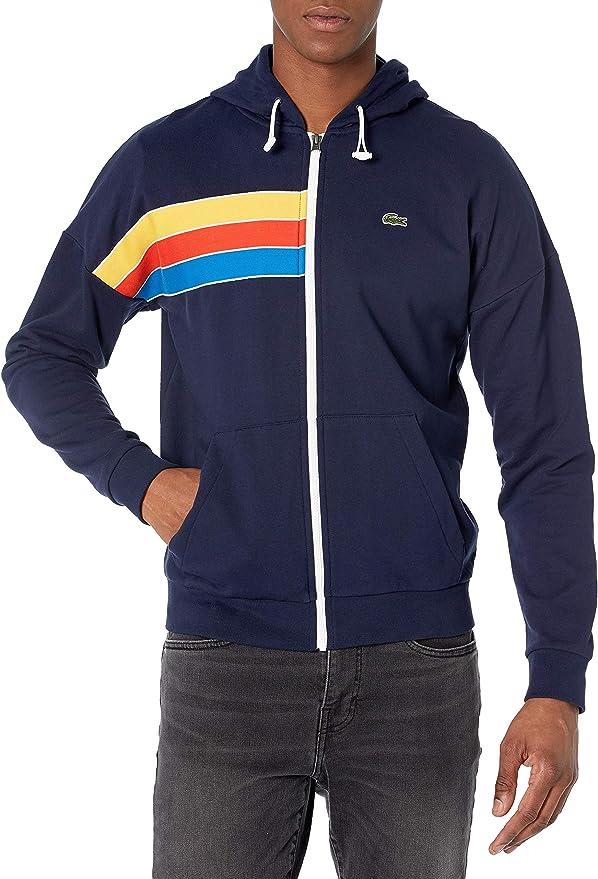 70s Jackets, Furs, Vests, Ponchos Lacoste Mens Rainbow Striped Full Zip Hooded Sweatshirt  AT vintagedancer.com