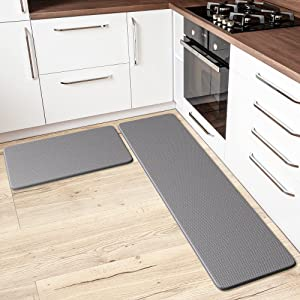 Anti-Fatigue Kitchen Mat & Rug - Set of 2 Cushioned Non-Slip Waterproof Kitchen Floor Mats, Great for Use in Front of Sink, PVC, Memory Foam. Comfort Decor. Runner Rugs for Home, Office, Laundry Room