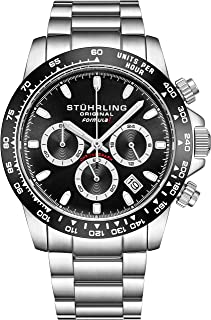 Stuhrling Original Mens Sport Chronograph Watch - Stainless Steel Brushed Matte Bracelet, 891 Formulai Watches Collection