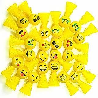 PROLOSO Jumping Emoji Popper Spring Launchers Bouncy Toy Balls 24 Pcs (Yellow Emoji)