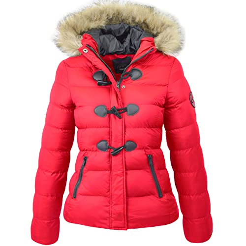 Womens Red Quilted Jacket With Hood Amazon Co Uk