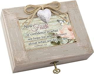Cottage Garden Faith Confidence Hope Natural Taupe Wood Locket Music Box Plays Amazing Grace