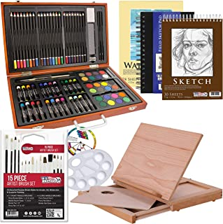 US Art Supply 82 Piece Deluxe Art Creativity Set in Wooden Case, Wood Desk Easel and Bonus 20 Additional Pieces - Deluxe A...