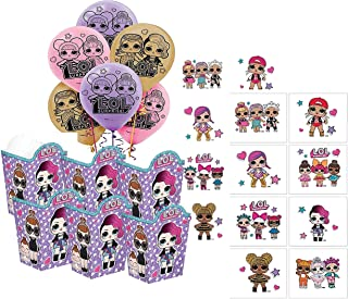 LOL Suprise Dolls Girl's Birthday Party Favors for 6 Guests! Includes Favor Boxes, Balloons & Tattoos!