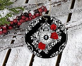 Custom Tree Ornament Xmas Tree Santa Onament Skull Clock Gothic Porcelain Custom Tree Ornament, Unique Keepsake Gifts Chri...