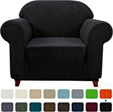 Subrtex 1-Piece Plaid Jacquard Stretch Couch Slipcovers, Chair, Black