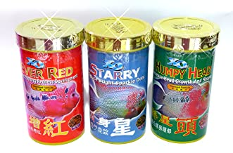 OCEAN FREE Xo EVER RED Enhance Strong Redness Development and HUMPY HEAD Increase head Growth And Shape Flowerhorn cichlid fish food 3 box 3 color