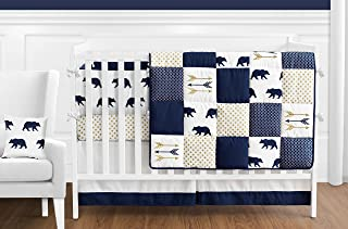 Sweet Jojo Designs 9-Piece Navy Blue, Gold, and White Patchwork Big Bear Boy Baby Crib Bedding Set with Bumper