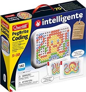 Quercetti - Peg Brite Coding - Learn to Code with Light-Up Mosaics, includes 180 Pegs and 6 Coding Cards, for Kids Ages 5 ...