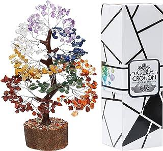 Crocon Seven Chakra Gemstone Money Tree Feng Shui Bonsai for Reiki Healing Chakra Stone Balancing Energy Generator Spiritu...