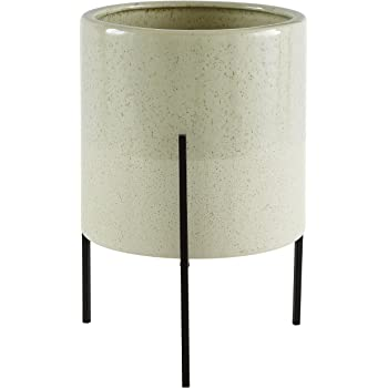 """Amazon Brand – Rivet Mid-Century Ceramic Planter with Iron Stand 14""""H, Pale Green"""