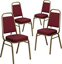 Flash Furniture 4 Pk. HERCULES Series Trapezoidal Back Stacking Banquet Chair in Burgundy Patterned Fabric - Gold Frame
