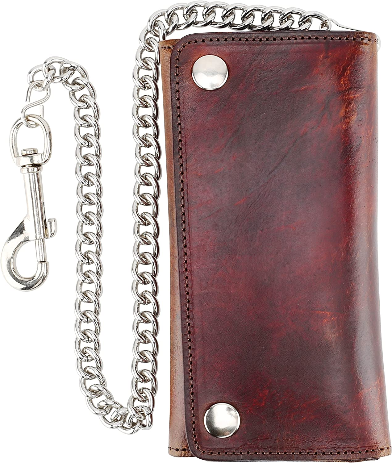 RFID Blocking Men's Tri-fold Vintage Long Style cow Leather With Chain card holder Wallet,USA