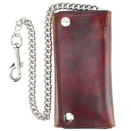 men/'s genuine leather bifold chain wallet motorcycle trucker biker Black wallet