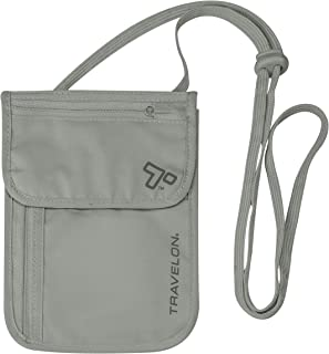 Travelon RFID Blocking Undergarment Neck Pouch, Gray, 8 x 5.25 x .125