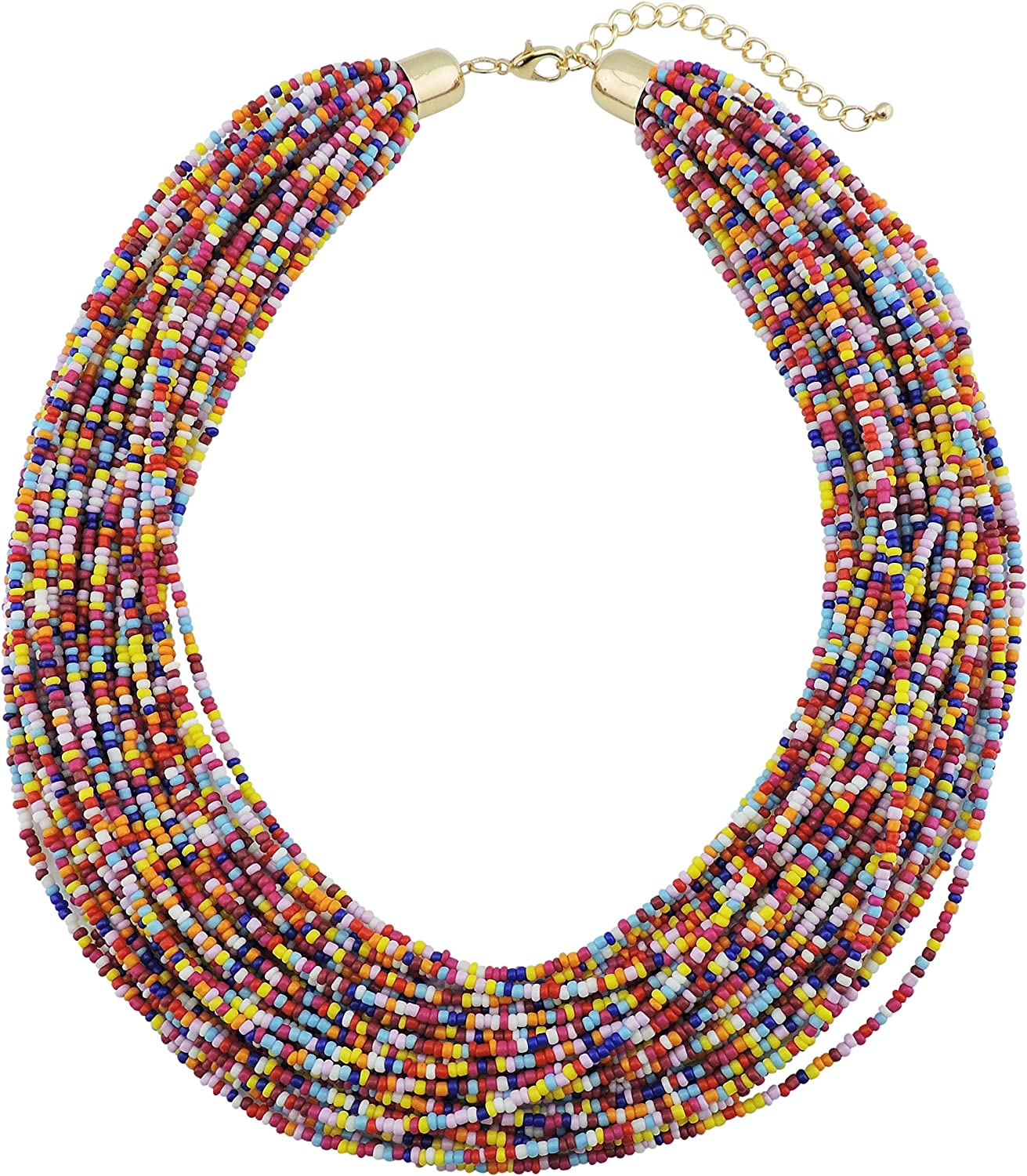 Bocar Multi Layer Chunky Bib Statement Seed Beads Cluster Collar Necklace for Women Gift (NK-10351)