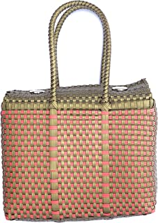 Gold and Pink Handwoven 100% Authentic Mexican Basket Bag, Size Small (petite)