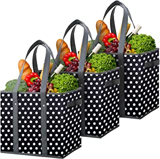 Flipzon Reusable Grocery Bags Heavy Duty Shopping Bags Boxes Totes[3 Pack],Water Resistant Storage Baskets,Collapsible Storage Boxes/Bins/Cubes for Groceries,Clothes,Books(B-W)