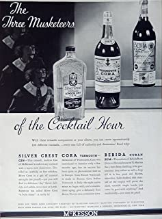 Silver Crest Gin, Cora Vermouth, Bebida Cuban Rum, 1935 Print Ad. B&W Illustration (the three Musketeers of the cocktail hour) authentic original vintage 1935 Esquire Magazine Art